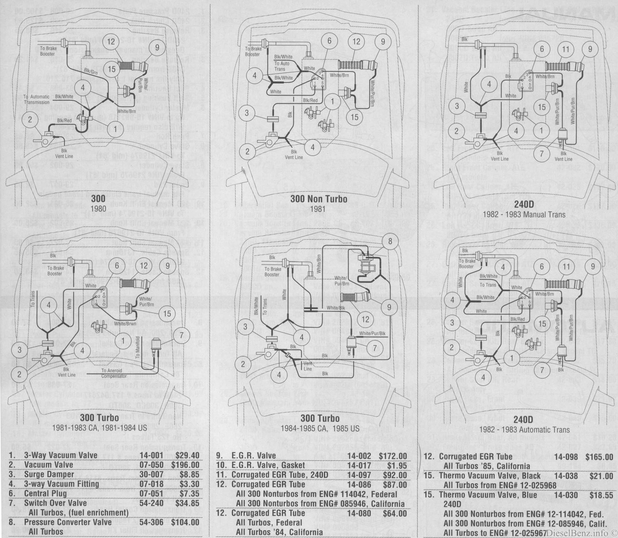 1989 Mercedes 230 Wiring Diagram Vehicle Diagrams S Cl W126 300sd 1983 Fuse Box Readable Vacuum 240d 300d 80 85 Peachparts Rh 1991 300e 1988 Hose